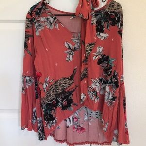 Blouse Salmon With floral bell sleeve